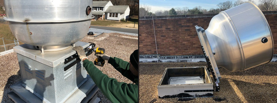 Hinge kit installation on a rooftop