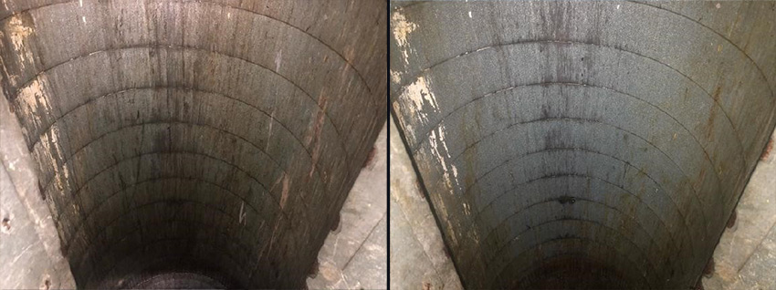 Trash chute before and after CKC cleaning service