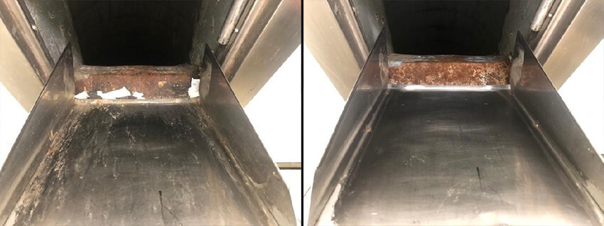 Trash chute door before and after CKC cleaning service
